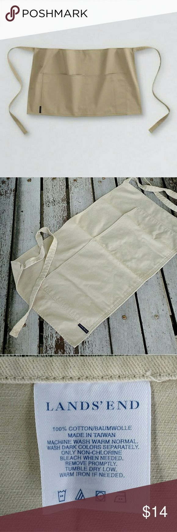 LANDS' END Tan Gardening Workshop Half Apron Perfect for storing tools and seed packets, or even change at your yard sale, this new without tags (came in a bag) apron is super handy. Light tan / khaki color. One size fits most. Tie back. Lands' End Accessories Belts
