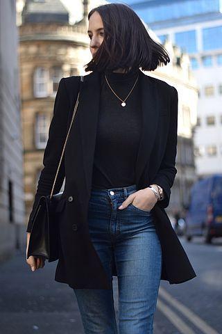 Long blazer, high neck shirt, jeans, necklace, stiff bag - London