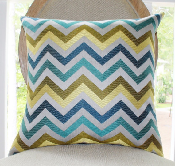 Designer Pillow Cover Modern Turquoise Teal Blue Grey Zig Zag Pillow by MotifPillows, $56.00 Hollywood Regency Pillow