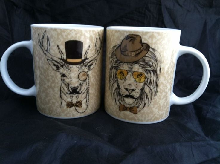 Steampunk Coffee Mug Set Tea Cup Anthropomorphic Lion Deer Mustache Obscure