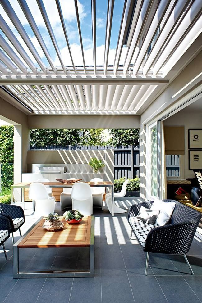 Outdoor dining and living, like how the vergola extends to cover entire outdoor space - can provide shade and cover during wet weather and opened on sunny days