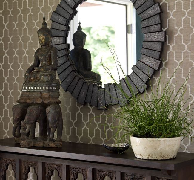 Awesome entry!: Decor, Ideas, Round Mirrors, Bella Mancini, Wallpaper, Perfect Round, Entryway