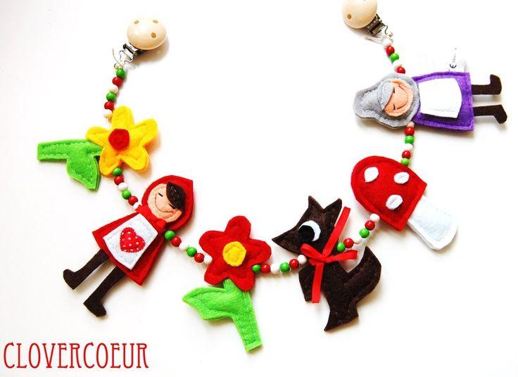 Kinderwagenkette+~+Rotkäppchen+und+die+Großmutter+von+Clovercoeur+~++Klee+ist+GLÜCK+♣+~+Herz+ist+LIEBE+♥+auf+DaWanda.com