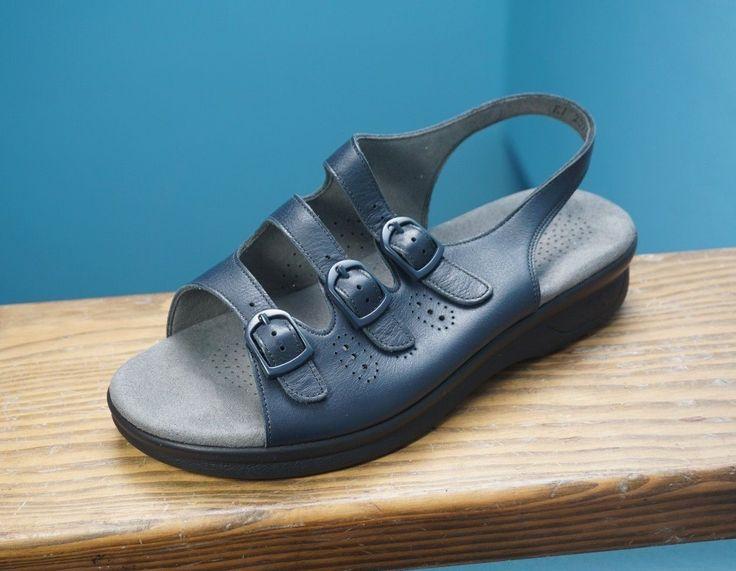 Womens SAS Tripad Comfort Trio Navy Blue Leather Sandals 7.5WW Double Wide  | Leather sandals, Navy blue and Shoe deals