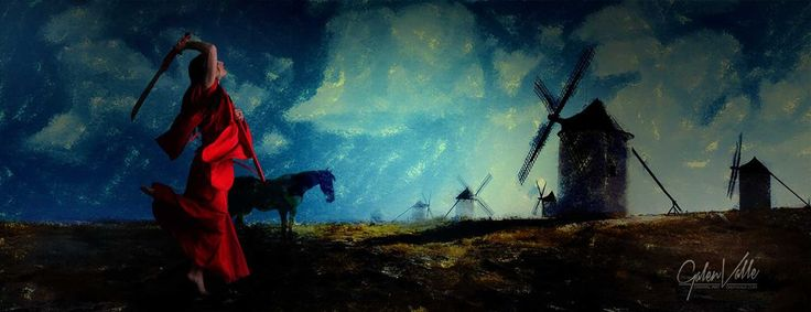 Tilting at Windmills... because they might be giants- Don Quixote - Galen Valle - Digital Artist