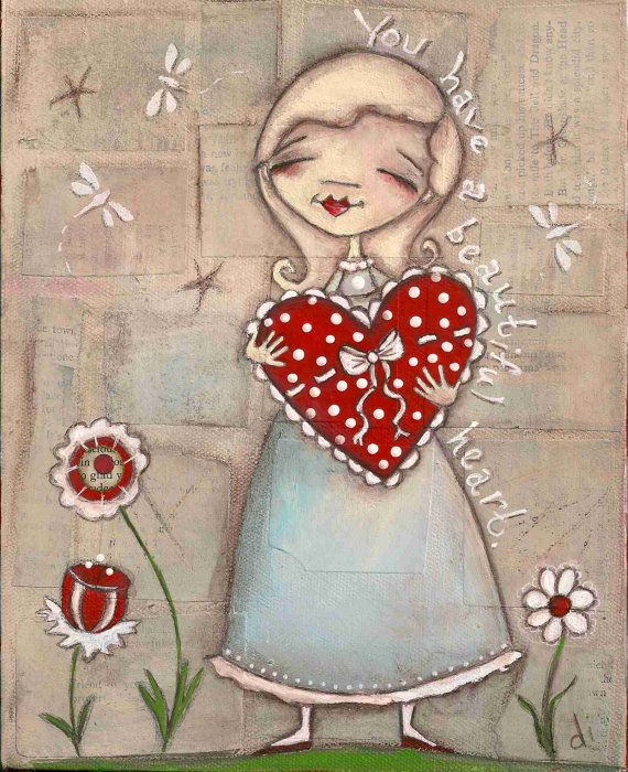 Print of my original Folk Art Painting    Your Beautiful Heart  ©dianeduda/dudadaze