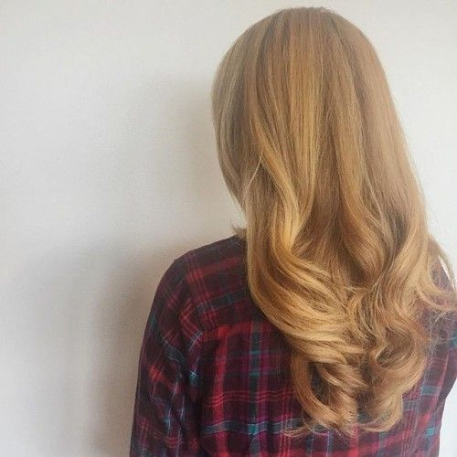 Golden color and curled ends