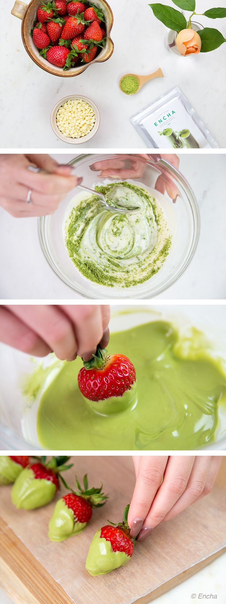 Matcha recipe: matcha chocolate-dipped strawberries with culinary-grade Encha Organic Matcha