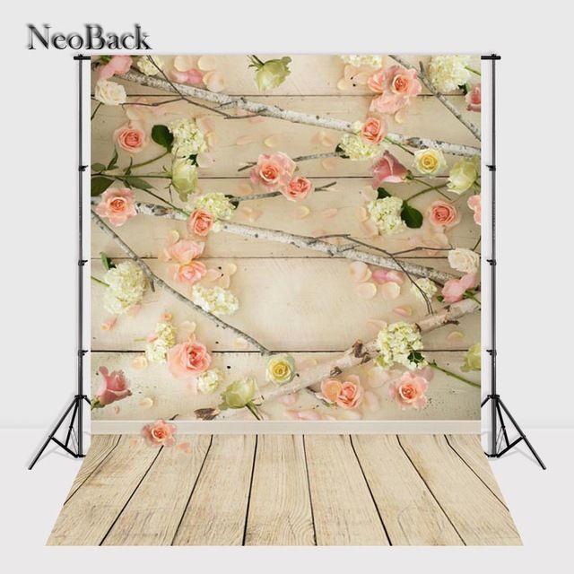 Neoback виниловая ткань детские фотографии фоны цифровой печати для новорожденных старший Деревянный Цветочный фото фонов A1333