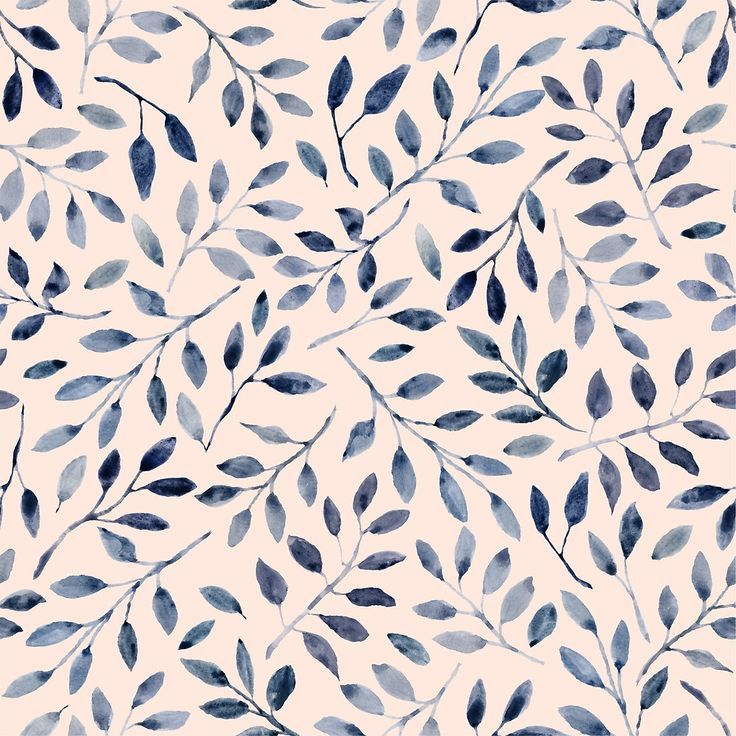 Blue Grey Watercolour Leaves Pattern By Saryandsaff Surface