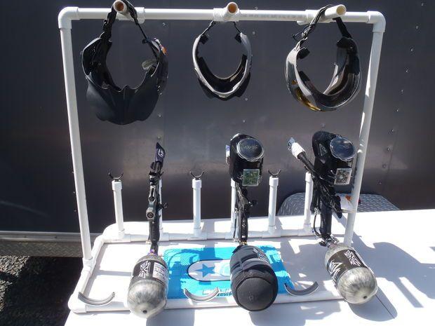 6 Player Paintball Gun and Mask Rack