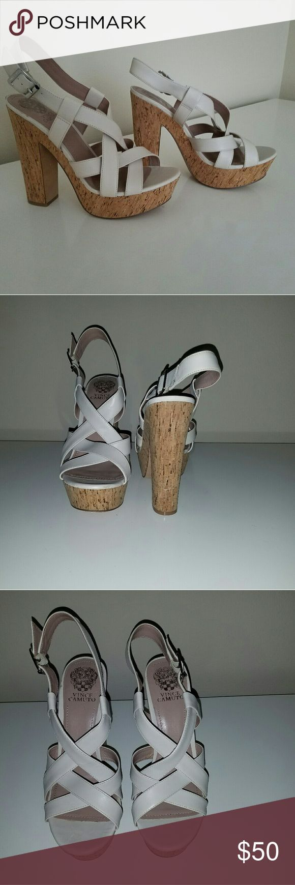 Vince Camuto Barley Cream Wedge Shoe New Never Worn SIZE 9.5 Barley Cork wedge  Real cream leather straps Heel Height 5 1/4 inch   Front Platform 1 1/4 inch  Offers and Questions Welcomed Happy Shopping ? Vince Camuto Shoes Wedges