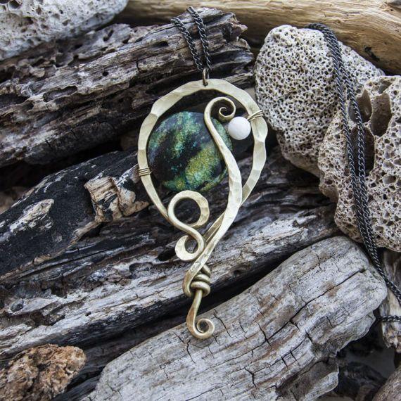 Chrysocolla BOHO necklace  boho pendant  by AntimetryCrafts