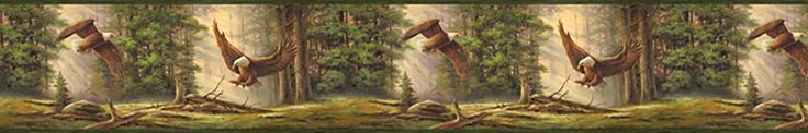 "Echo Lake Lodge Houghton Eagles 15' x 8"" Wildlife 3D Embossed Border Wallpaper"