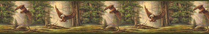 "Echo Lake Lodge Houghton Eagles 15' x 8"" Wildlife 3D Embossed Border Wallpaper"