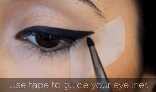 13 Makeup Tips No One Told You About. Most are well-known (or should be), but the one about using tape as a guide for liquid liner is BRILLIANT!