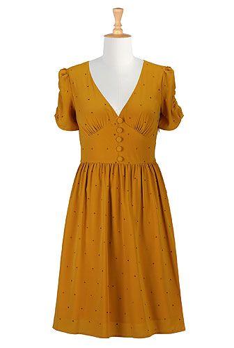 eShakti Golden dots crepes dress