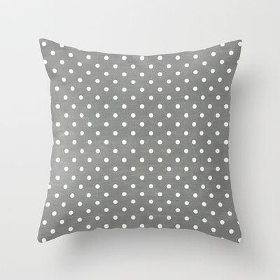 dark gray swiss dots Throw Pillow by her art
