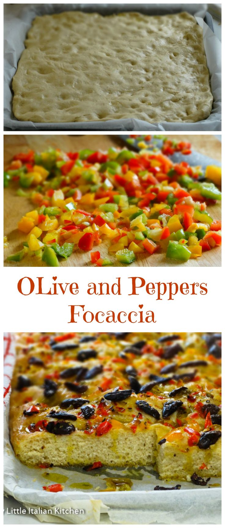 I often make this Olives Focaccia when I have parties as it is so tasty and perfect for sharing. Olives and peppers make a good combination of flavours and colours.