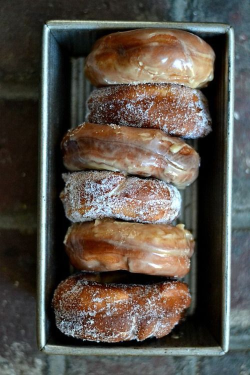 Old fashioned raised maple doughnuts.