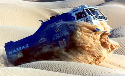 Russian Kamaz truck competing in the Paris-Dakar Rally.