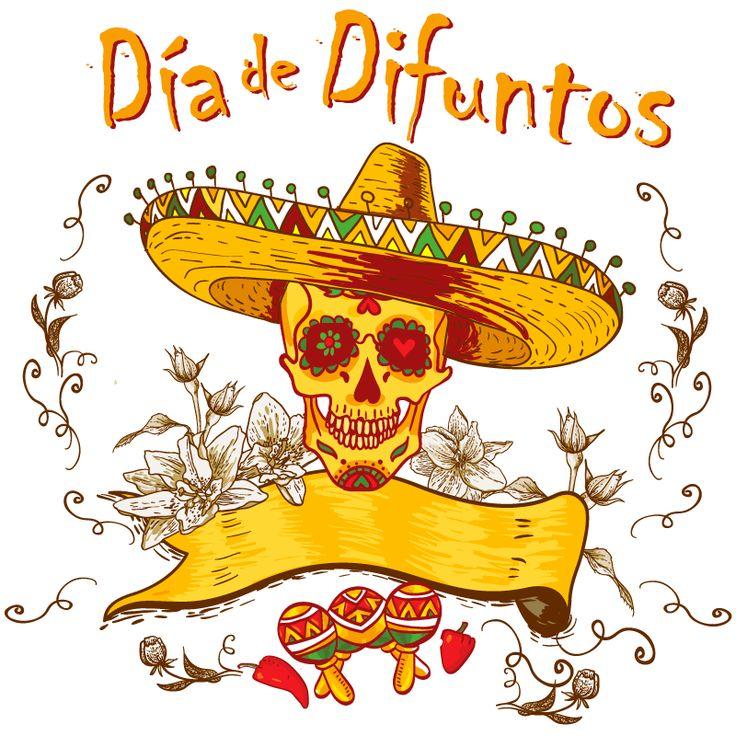 Calavera con sombrero mexicano, típica de la fiesta del Día de difuntos en vector e imagen normal. Descarga gratis.