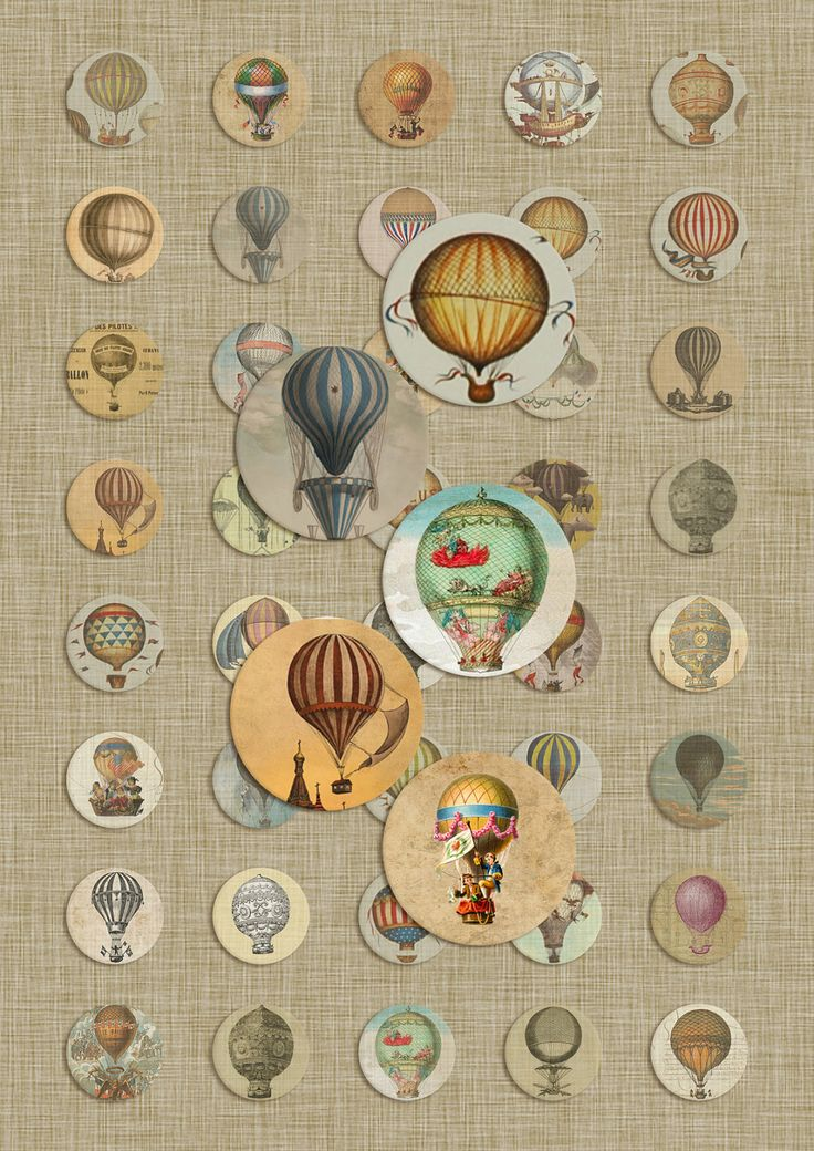 Vintage Hot Air Balloons - 1 inch (25 mm) circles - Illustrations from the 1900's - Digital Collage Sheet