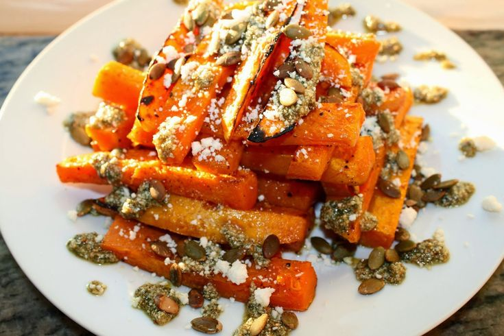 Roasted Butternut Squash with Sage & Toasted Pumpkin Seed Pesto and Ricotta Salata