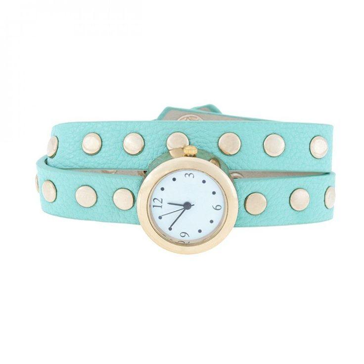 Mint Round Studded Wrap Watch