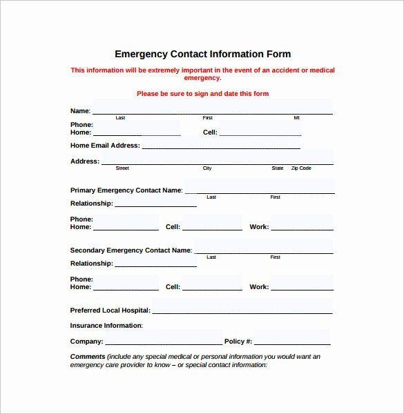 Emergency Medical Information Form Template Luxury Emergency