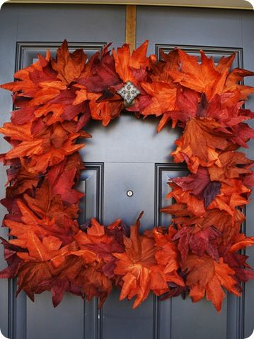 Square fall leaves wreath...love