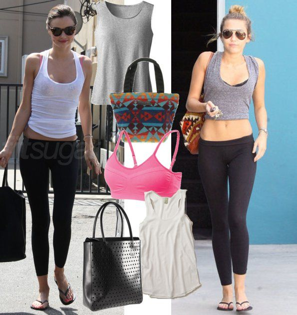 """FitSugar featured the Moving Comfort Aurora sports bra in, """"Get the Look: Miley and Miranda's Studio Workout Style"""" www.fitsugar.com/Miranda-Kerr-Miley-Cyrus-Workout-Leggings-22538092"""