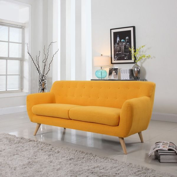 Brighten your living room or recreation room with a colorful and funky modern mid-century sofa. Bring your traditional decor into the modern era with this three-seater sofa's vintage shape and tufted