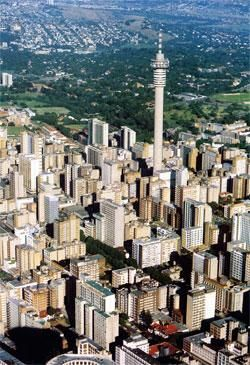 Johannesburg from the sky - This tower is situated in the centre of Hillbrow on the outskirts of central JoBurg