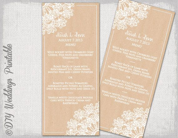 "Wedding menu template -Rustic DIY wedding menu -""Lace Doily kraft"" digital kraft printable menu - Boho Editable menu template - download"