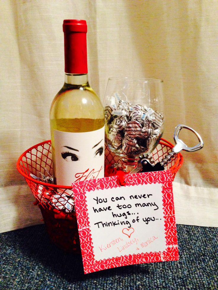 Sympathy gift for a friend: Wine, Wine Glass, Corkscrew, & Hershey Hugs  -You can never have too many hugs