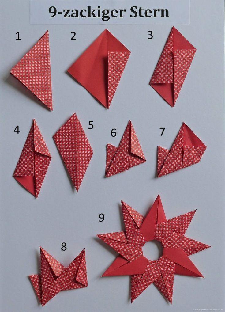 Sonne Oder 9 Zackiger Stern PapierZen Avec Origami Sterne Falten Anleitung Et C