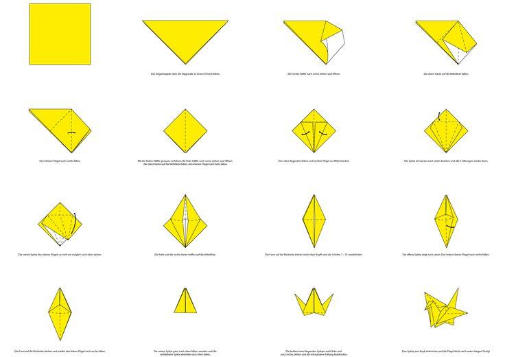 Origami Faltanleitung Für Eine Kranich Ideen Pinterest