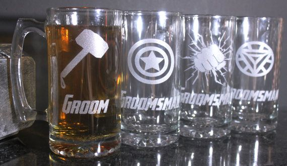 Superhero Symbol Groomsmen Beer Mugs by DioDuo on Etsy