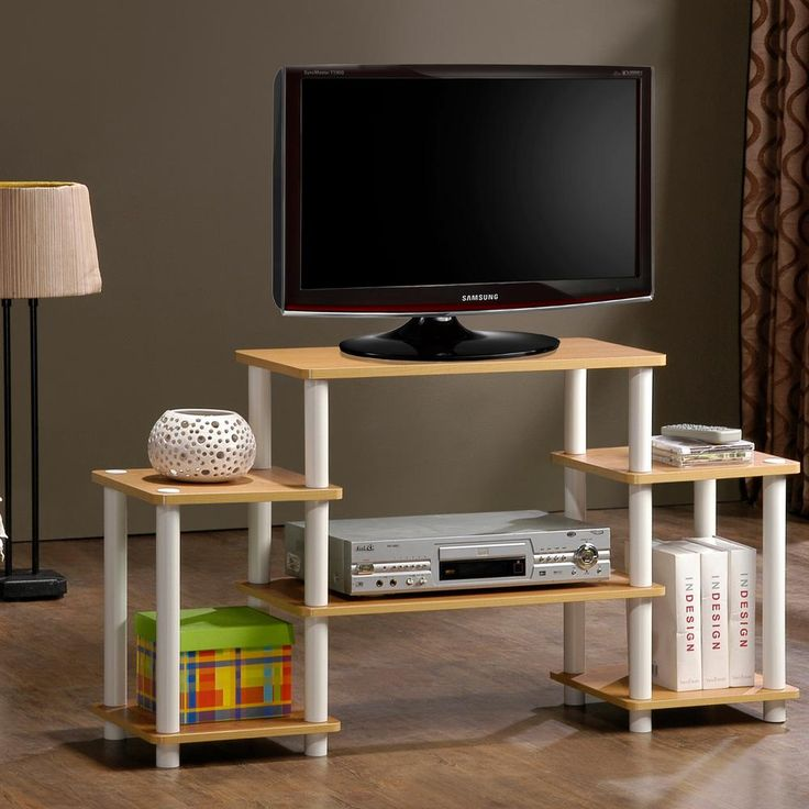 Turn-N-Tube Black Entertainment Center with Side Shelves, Black And Grey