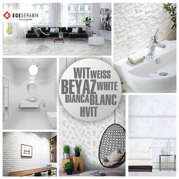 Bütün renkleri içerisinde barındıran beyaz renk, saflığın ve temizliğin simgesidir Beyaz renk mekanların daha geniş ve ferah algılanmasını sağlar. Bu etkisinden dolayı, özellikle banyo, mutfak gibi dar mekanlar ile misafir odaları için uygun bir tercih olabilir. Bütün renklerle uyum sağlayan, tamamlayıcı ve dengeleyici bir renk olarak diğer mekanlarda da rahatlıkla kullanılabilir.  #egeseramik #beyaz #white #tile #decoration #seramik #ceramic #home #floor #kitchen #bathroom #banyo #mutfak