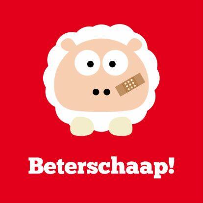 Een vrolijk kaartje om iemand beterschap te wensen! Beterschaap! Een kaart met een schaap en een pleister. (Beterschapskaart)