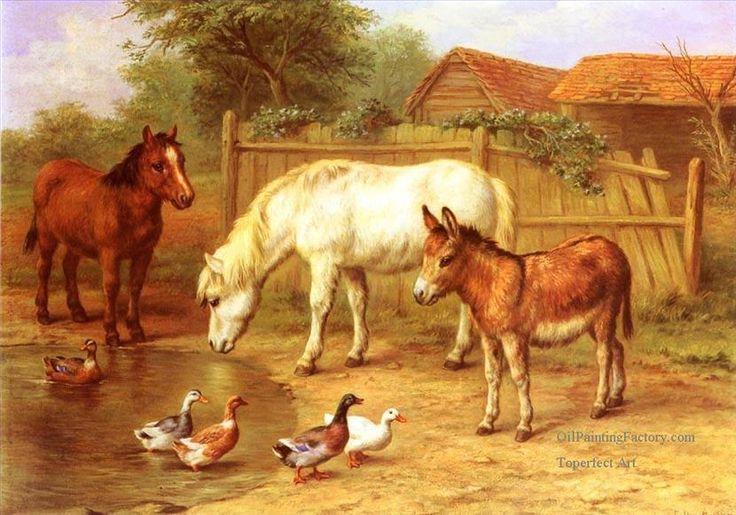 Ponies Donky And Ducks In A Farmyard Farm Animals Edgar
