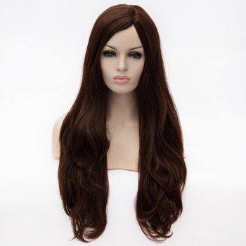Fashion Super Long Centre Parting Deep Brown Wavy Capless Heat Resitant Synthetic Wig For Women (DEEP BROWN) in Synthetic Wigs | DressLily.com