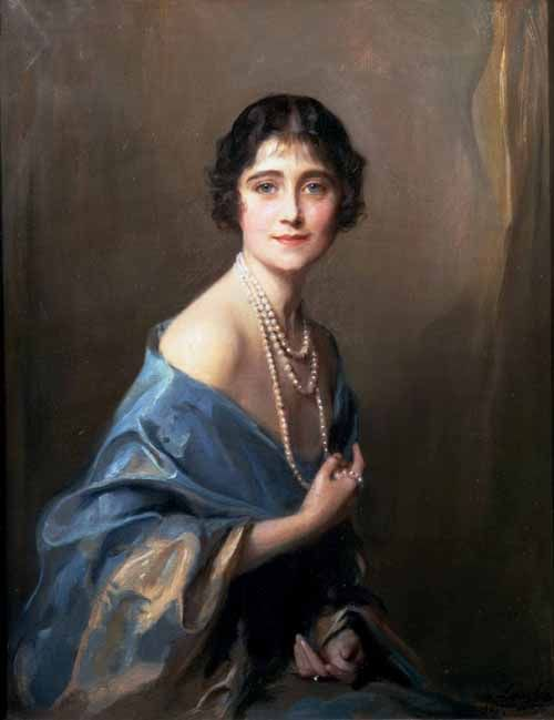 The Duchess of York, later Queen Elizabeth the Queen Mother, around the time of her marriage to Prince Albert, the Duke of York.