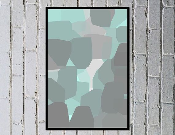 Abstract digital art pastel turquoise mint green soft grey - Looking Up - Made by Gia $5.50