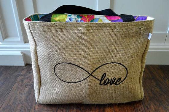 Handmade Infinity - Infinite Love Burlap Market Tote Bag