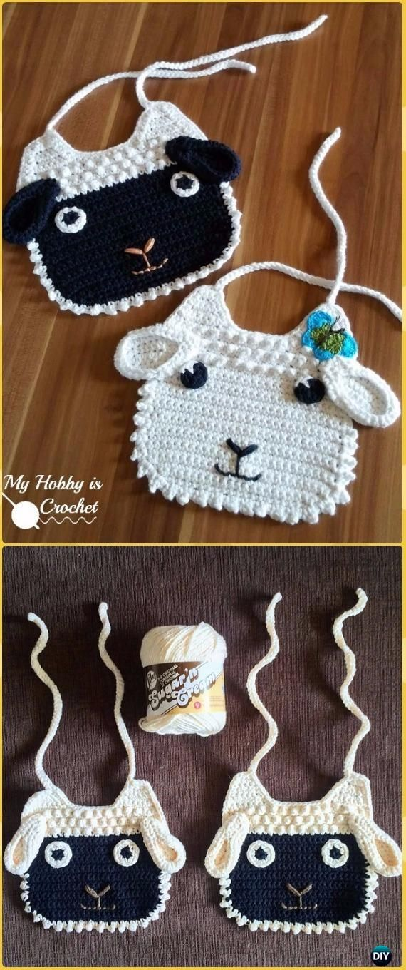 Crochet Little Lamb Baby Bib Free Pattern - Crochet Baby Shower Gift Ideas Free Patterns