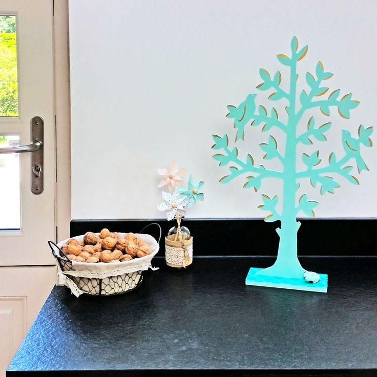 Arbre oiseaux sur socle en bois à poser, déco pastel ! Support en bois nature arbre simple et rapide à décorer
