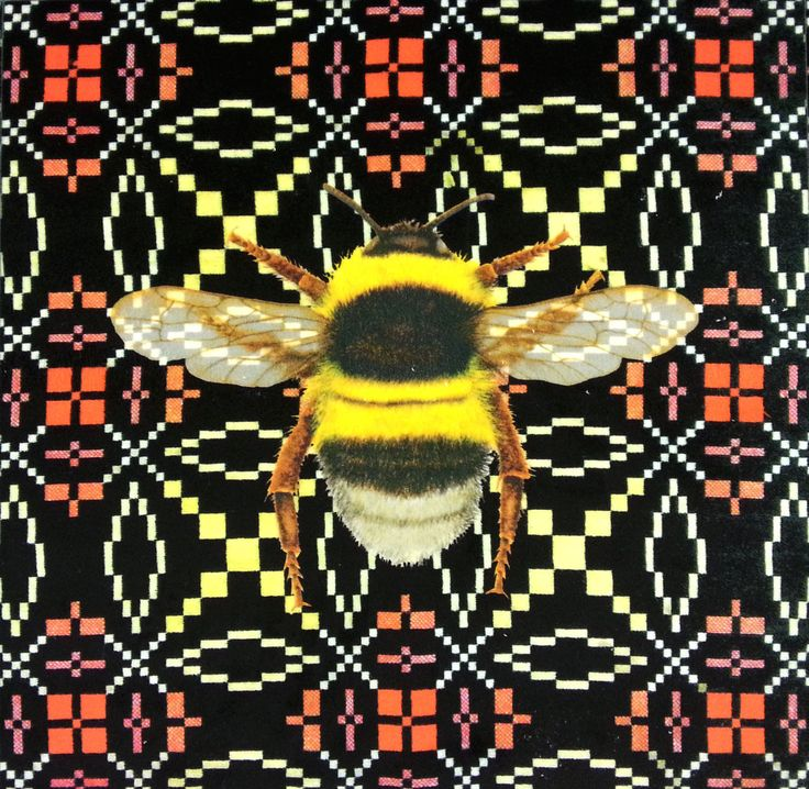 Velvet Bumblebee Vintage Welsh Blanket Cushion Panel Black £6
